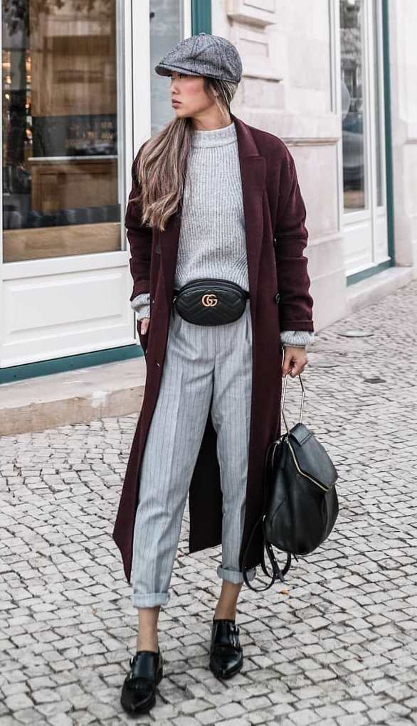 what to wear this fall : hat + waist bag + sweater + coat + grey pants + black loafers