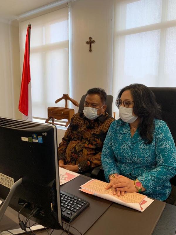 Gubernur Olly Dondokambey dan Ibu Rita Tamuntuan Ikut Rakor Bersama Mendagri dan Kepala BNPB RI Terkait Protap Covid