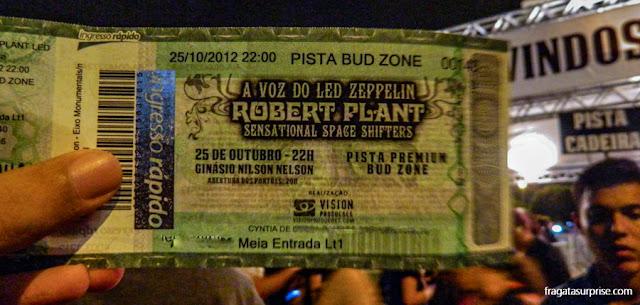 Ingresso para o show de Robert Plant