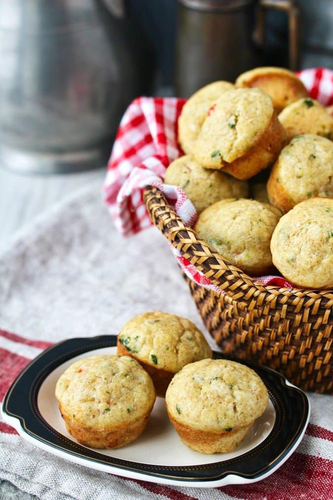 Sourdough Tomato and Basil Muffins