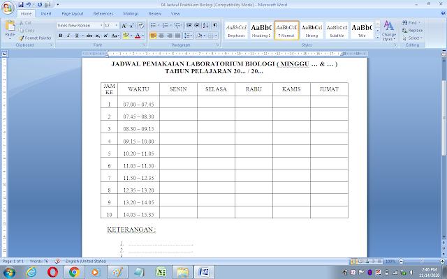 Contoh jadwal penggunaan laboratorium IPA