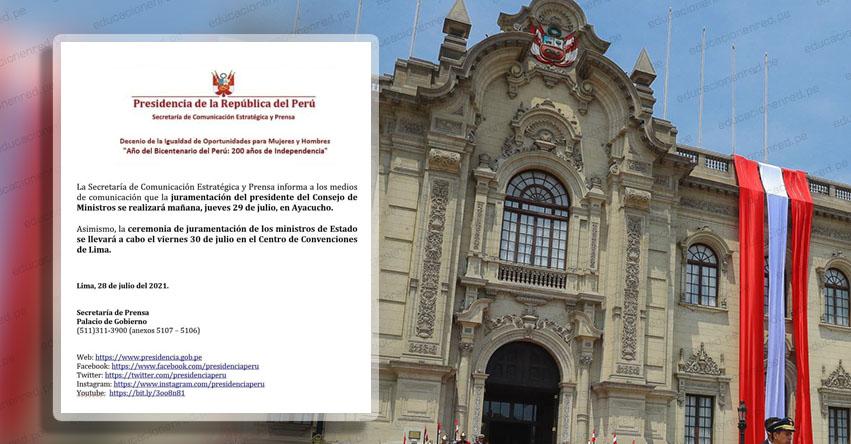 Juramentación del Gabinete Ministerial de Pedro Castillo será el viernes 30 de Julio
