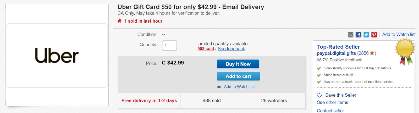 Canadian Rewards Ebay 50 Uber Gift Card For Only 42 99