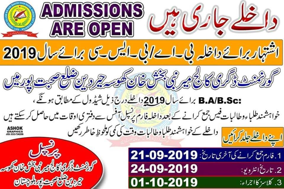 B.A/BSc Admission In Sohbatpur 2019