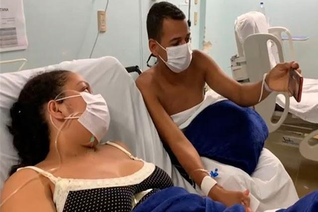 Internados e separados pela Covid-19, pai, mãe e filho recém-nascido se reencontram em chamada de vídeo