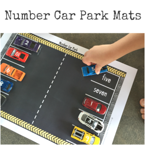Printable Number Car Park Mats - practice matching the numeral and number word in a fun playful way with these printable car park mats - just add small cars | you clever monkey