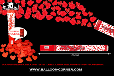 Party Popper Red Lover / Confetti Red Lover Ukuran 80 Cm (TOMBOL / PENCET)