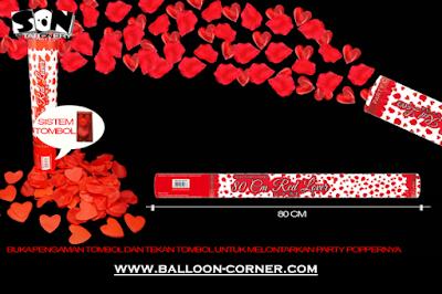 Party Popper Red Lover / Confetti Red Lover Ukuran 80 Cm (TOMBOL / PENCET)
