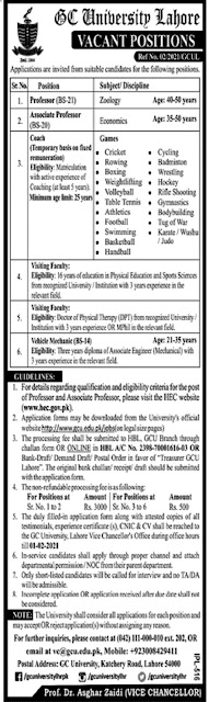 government-college-university-lahore-jobs-2021-application-form
