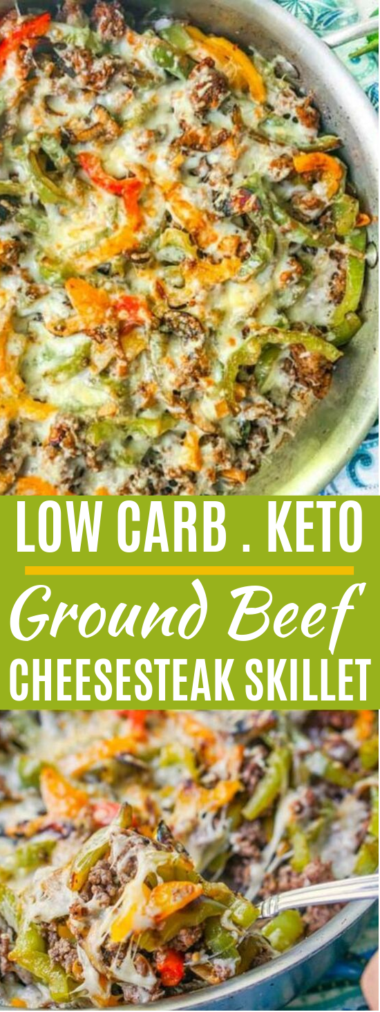 Low Carb Cheesesteak Skillet using Ground Beef #healthy #lowcarb