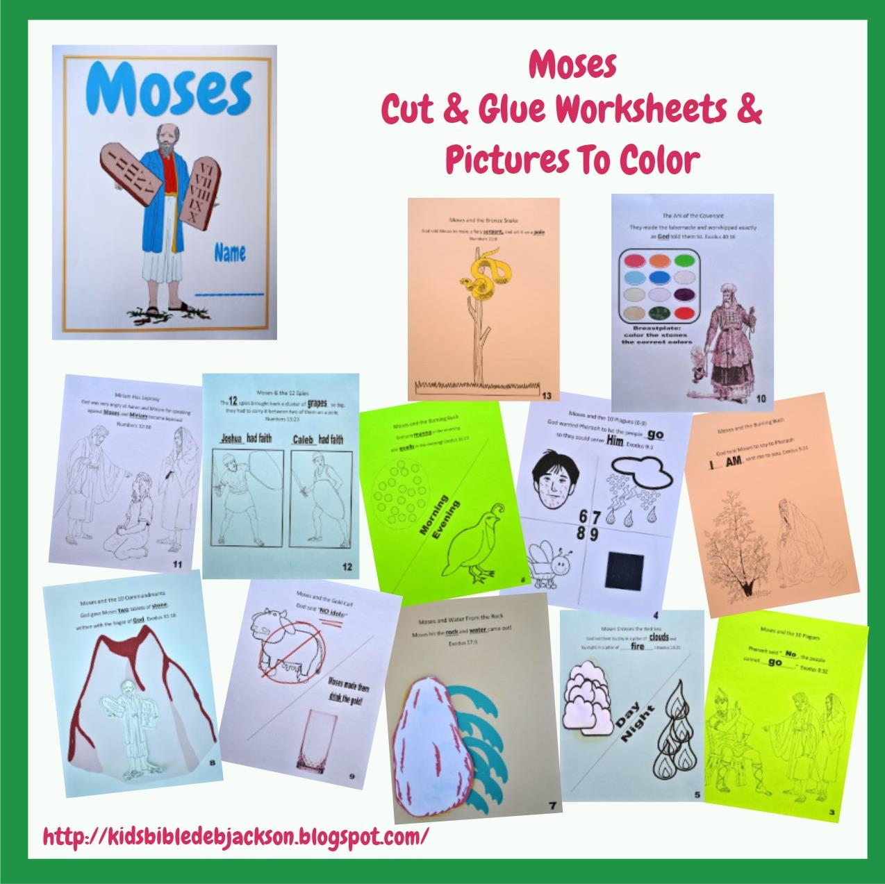 Bible Fun For Kids: Moses Cut & Glue and Pictures to Color