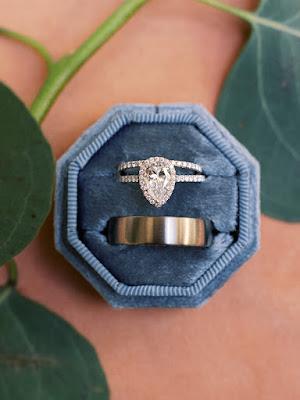 wedding rings in blue case