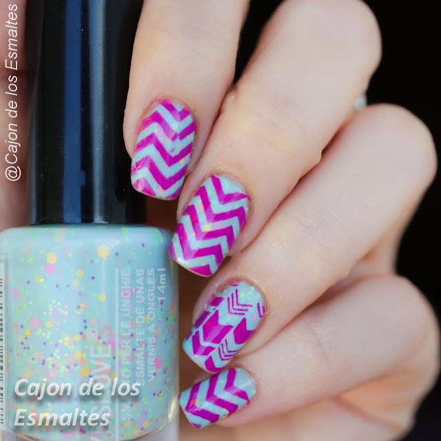 Esmalte Yes Love glitter neon y chevron