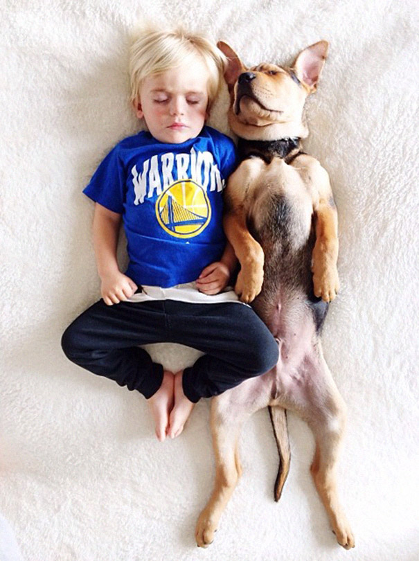 A boy and his puppy