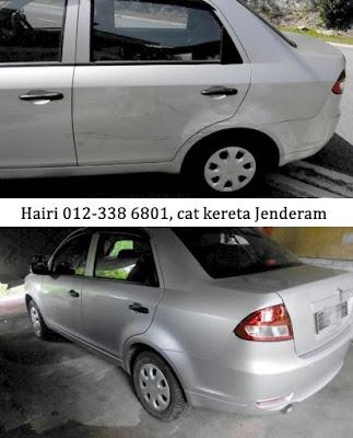 Gambar kereta sebelum dan selepas ketuk dan cat. bengkel cat kereta murah di Jenderam.