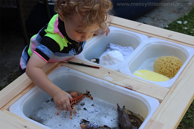Muddy animal water play for toddlers and preschoolers