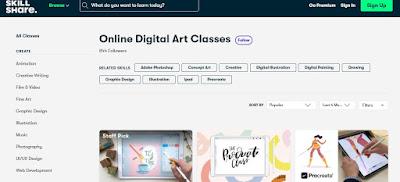 aplikasi belajar online digital art dan desain gratis skillshare