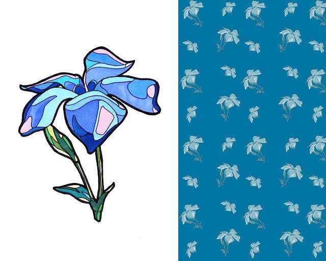 blue-flower-pattern fiore-blu-pattern