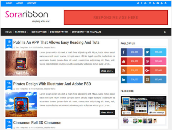 3. Sora Ribbon Blogger Template
