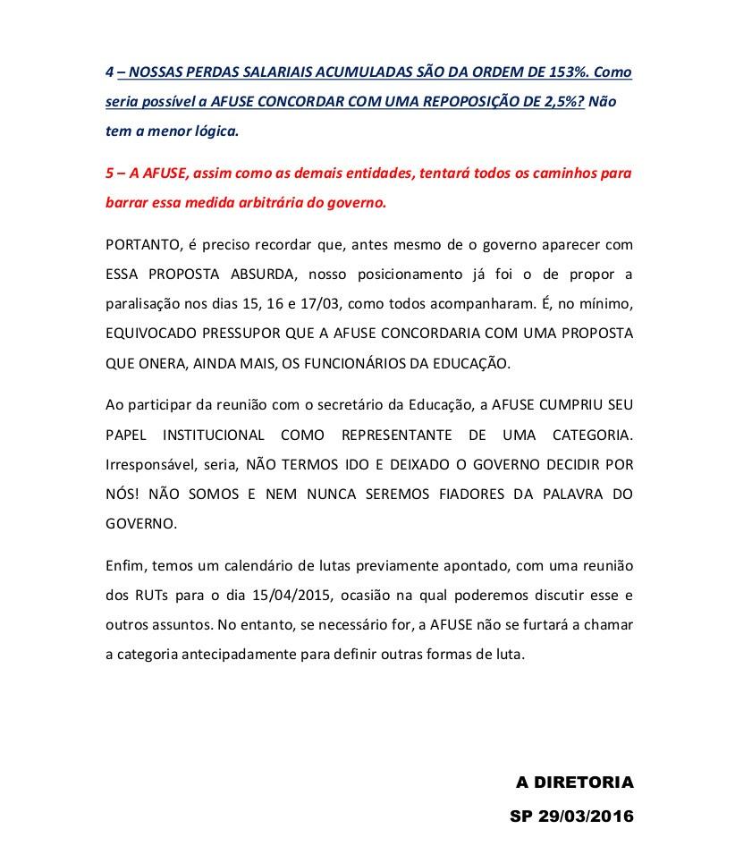 AFUSE - Esclarecimentos necessários - Somos contrários à proposta do governo!! (Cancelamento do Bônus e aumento no salário base de 2,5%) - Comunicado parte 2