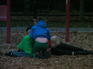 rugby scrum melee in park