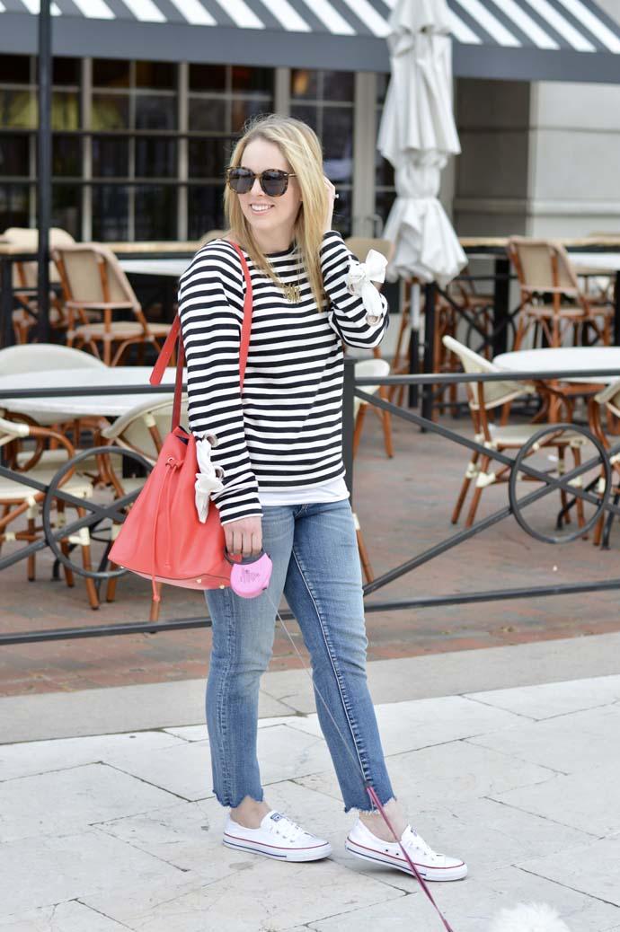 cute spring stripe top outfit idea