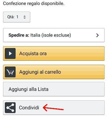 Come condividere un prodotto su Amazon App