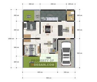 Desain Rumah Type 45 2 Kamar