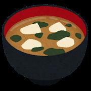 豆腐とワカメのお味噌汁のイラスト