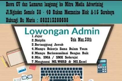 Lowongan Kerja Terbaru di Mitra Media Advertising Surabaya Mei 2019