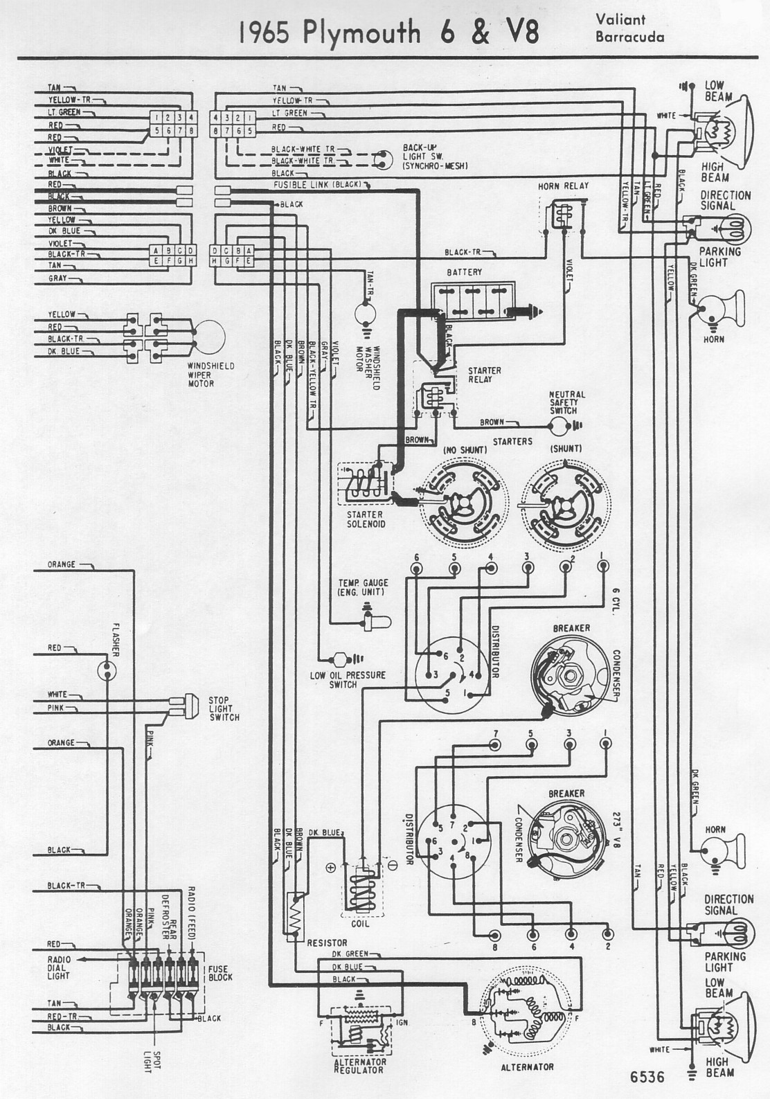 Free Auto Wiring Diagram: 1965 Plymouth Valiant or Barracuda Engine Compartment Wiring Diagram