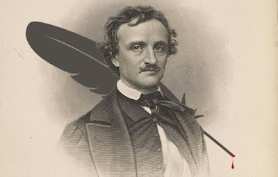 Retrato de Edgar Allan Poe con una pluma con sangre detrás