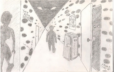 Pencil sketch depicting silhouettes of a girl holding a club and a man walking down an infinite-appearing alley.