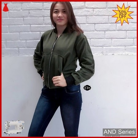 AND273 Jaket Wanita Bomber Crop Army BMGShop