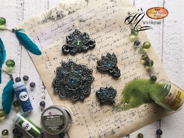 Mixed media clay magnets tutorial by Maria Lillepruun