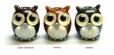 Glass owl beads
