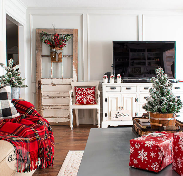 Christmas living room with antique door
