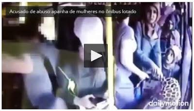[VIDEO] Folgado tenta abusa de mulher em ônibus lotado
