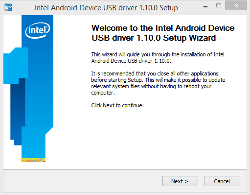 Instal Intel Android Device USB Driver