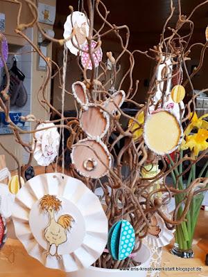 Osterstrauß-Hänger Rosetten mit Häschen, Hühnern und Marienkäfern Stampin' Up! www.eris-kreativwerkstatt.blogspot.de