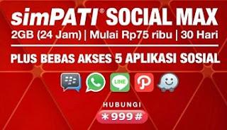 Paket internet Social Max SimPATI 2GB Sebulan Mulai 75 Ribu Gratis Messenger 5 Aplikasi