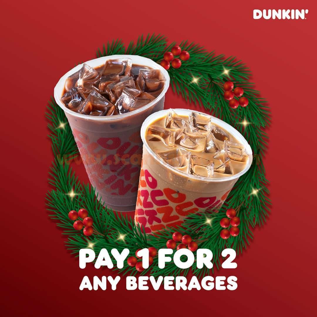DUNKIN DONUTS Promo PAY 1 FOR 2 ANY BEVERAGES dengan Kartu BCA