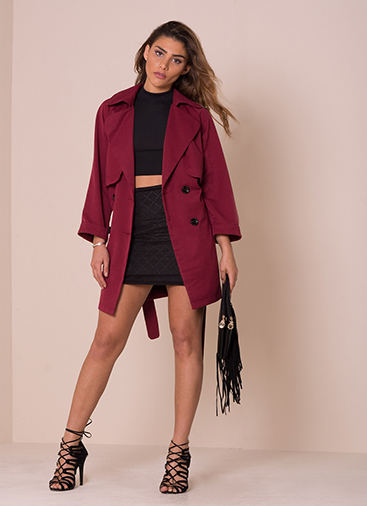 alessa wine trench coat