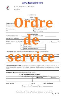 modèle ordre de service marché public