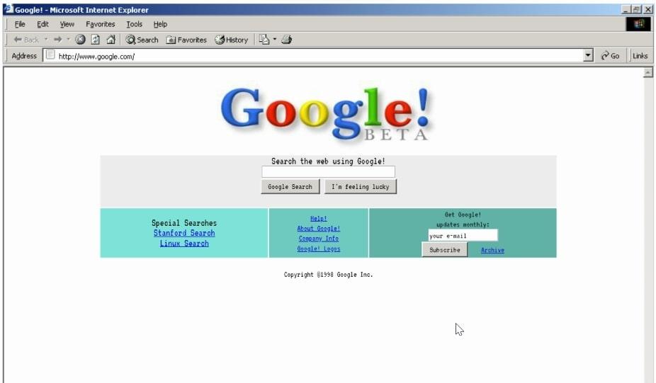"""<img src=""""google in1998.jpg"""" alt=""""google in 1998 version google trick"""" title=""""google in 1998 google trick"""">"""