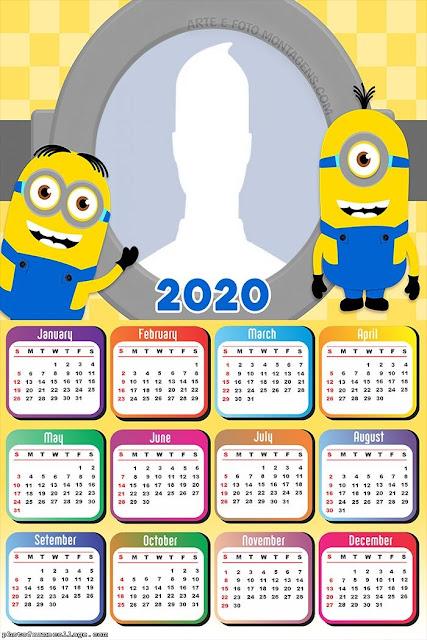 Minions: Calendario 2020 para Imprimir Gratis.