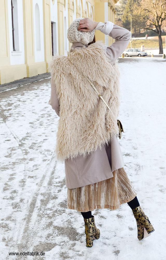 Mantel unter Weste, Lagenlook im Winter