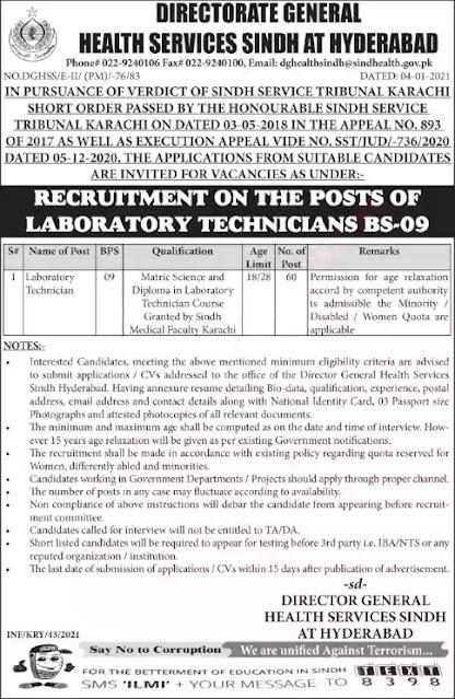 Govt Jobs in Lab Technician Jobs in Health Department Sindh 2021 Latest Govt Jobs