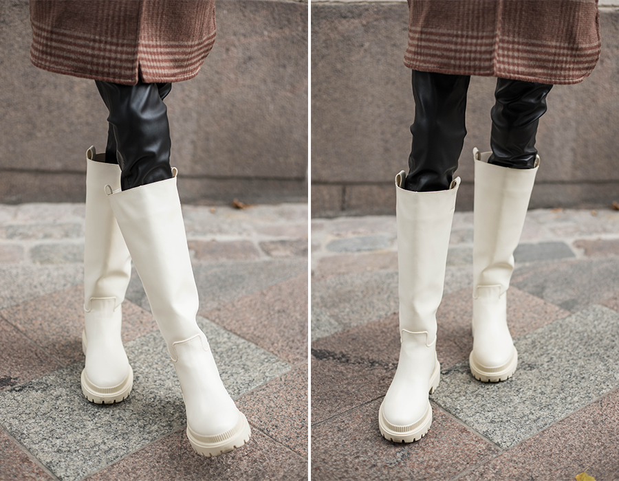 H&M vaaleat saappaat // H&M cream chunky sole boots