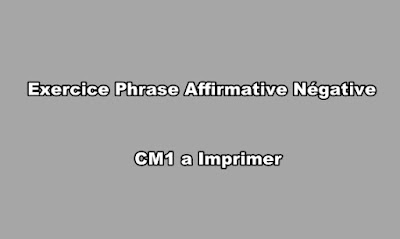 Exercice Phrase Affirmative Négative CM1 a Imprimer